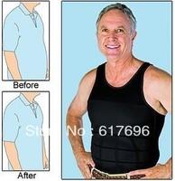 Men Slimming Underwear  Body Shaper  Vest T-Shirt Belly Cincher  Lose Weight Brand New Black