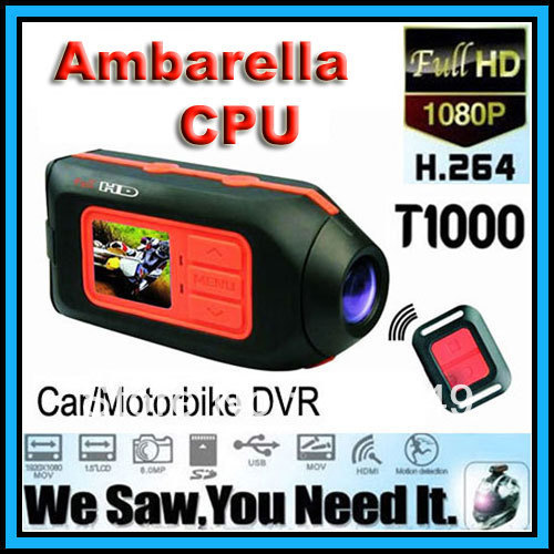 Ambarella T1000 Full HD 1920*1080P 30FPS Car DVR,Motorbike Video Camcorder,Sport Helmet Camcorder,1/12.5Color CMOS Sensor(China (Mainland))