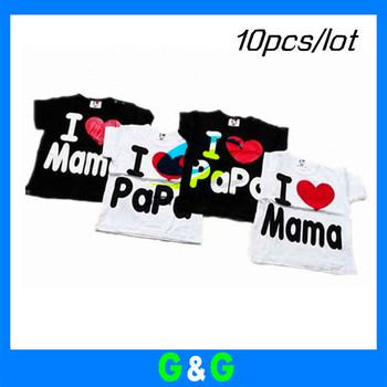OWIND IN STOCK baby Short Sleeve t Shirt baby Tee shirt boy & girl T-shirt i love papa  mama shirt printed short shirt 10pcs/lot