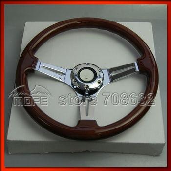 SPECIAL OFFER 5PCS Deep Corn / Dish Steel 3 Spokes Wood Grain 350MM Steering Wheel For Sport Racing Car