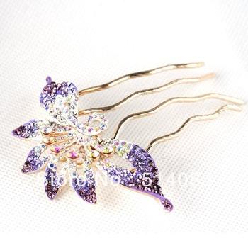 mix 2 color Six petals fashion hair ornaments full rhinestone hair combs 3pcs/lot free shipping