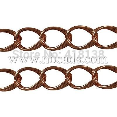 Aluminium Twist Chains, Oval, Camel, 29x14x3mm(China (Mainland))