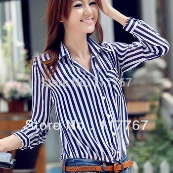 Free Shipping 2013 Office Ladies' Stripe Print Long Sleeve Chiffon Shirts Fashion Women's Turn-down Collar Blouses 2Color 651207