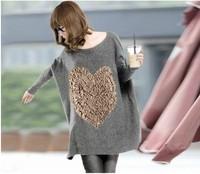 2013 spring large love elegant batwing sleeve loose pullover medium-long sweater female sweater