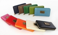 Free shipping 2013 fashion mj women's metal standard cowhide long design popper mj red zipper wallet female purse