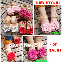 Free shipping Hot sale 2014 summer sandals sweet flower toe cap covering child sandals 21--25