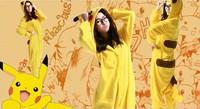 New Fleece Animal Pajamas Unisex Adult Pyjamas Cosplay Costumes Yellow Pikachu Pokemon All in one
