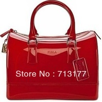2013 new colors women ladies jelly candy tote bag summer transparent handbag--Free shipping