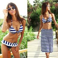 Fashion Padded 3 Piece Blue Stripe Bikini with Beach Dress Bikini Swimwear Swimsuit US6 8