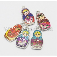 Stock Deals Alloy Enamel Pendants,  Russian Dolls,  Platinum Metal Color,  Mixed Color,  27x14x4mm,  Hole: 2mm