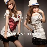 2013 Women's Fashion Korea Sexy Love Off Shoulder T-shirts Tops white free shipping #202