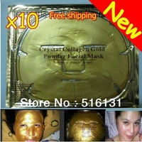 10pcs/lot Gold Crystal Collagen Facial Mask Face Masks