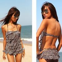 Fashion Sexy Womens Brown Leopard Ruffle Padded Monokini Swimwear Swimsuit Bathingsuit US6/8/10-12