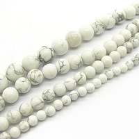 4mm 6mm 8mm 10mm Fashion Natural White Howlite Turquoise Gemstone Stone Beads Round Loose Beads Semi Precious Stone HB525