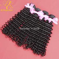 "Queen Hair Product Weave Beauty Brazilian Virgin Curly Hair 3pcs/lot Free Shipping Human Hair for Weaving 12""-30"" Natural Black"