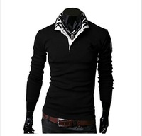 2014 new arrived Mens Long Sleeve T Shirt slim fit , shirt Fashion T-shirt free shipping 2 color 4 size