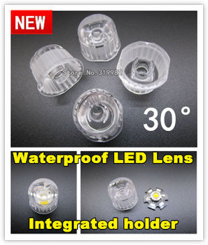 50pcs/lot, LED lens 30 deg, led waterproof lens with lenses holder set together, 1W led lens, 3W led lens, Optical lens freeship