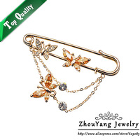 ZYX015 Three Butterflies Crystal Brooches 18K Champagne Gold Plated  Jewelry Austrian Crystal  Wholesale