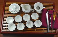 elegance Porcelain Tea set with  wooden tray, Sanskrit pattern Chinese calligraphy kungfu tea set ,teaboard.Free shipping