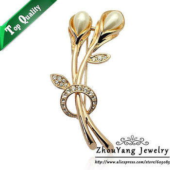 ZYX023 Tulip Imitation Pearl Crystal Brooches 18K Champagne Gold Plated  Jewelry Austrian Crystal  Wholesale