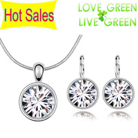 Free Shipping brand fashion factory Wholesales 18K Platinum Plated Shine Zircon Crytal Sugar Pendant Jewelry Sets 9 colors 90089