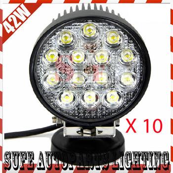 10PCS 42W LED Work Light Driving OffRoad SUV ATV 4WD 4X4 Spot/Flood Light LED Truck Lights Car Boat Headlight