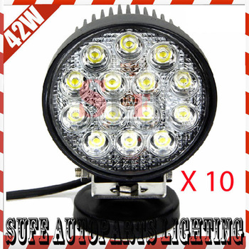 Free DHL Shipping 10PCS 42W LED Work Light Driving OffRoad SUV ATV 4WD 4X4 Spot/Flood Light LED Truck Lights Car Boat Headlight