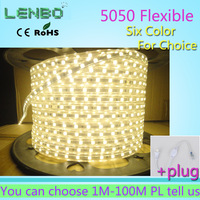 5M 5050 LED strip 220V 230V 240V white/warm white Waterproof flexible SMD led strips IP65 + Free Plug