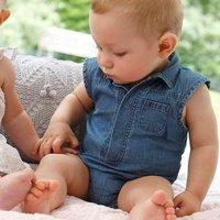 Baby boy romper/blue lapel sleeveless/ shirt knitting and denim/summer fresh style