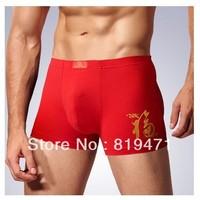 B18 Free Shipping Man RED  Dargon boxer Mean GOOD LUCK  men's underwear boxers cotton underwear man