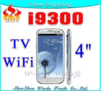"HOT TV WiFi Quad Band Dual SIM Card i9300 S3 9300 4.0 "" Touch Screen Cell Phone Hebrew Russia Polish language+Gift Free shipping"