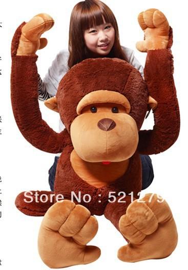 Free Shipping 42'' /110CM stuffed monkey toy, plush monkey, Giant monkey stuffed animal Valentine gift for Girls Christmas Gift(China (Mainland))