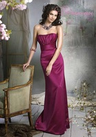 Free Shipping Strapless Floor Length Satin Bridesmaid Dress Style Red Bridal Wear