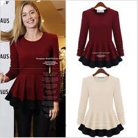 L~5XL European Style Women Plus Size Long Sleeve Color Block Peplum Autumn Tops Blouse Elegant Ruffle Spring High Stretchy Shirt