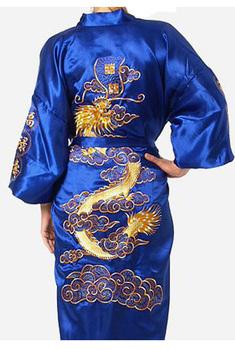 Синий Chinese tradition Mens robe gown sleepwear Bathrobe Nightwear with Dragon ...