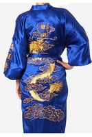 Blue Chinese tradition Mens robe gown sleepwear Bathrobe Nightwear with Dragon Free shipping size S-XXXL