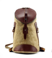 freeshipping Genuine Leather women's Backpack girls' Canvas totes handbag for school travel birthday gift