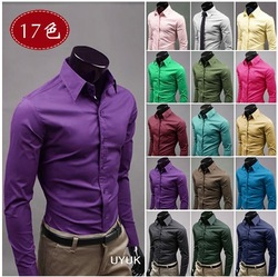 Free Shipping 2013 Mens Slim fit Unique neckline stylish Dress long Sleeve Shirts Mens dress shirts 17colors ,size: M-XXXL(China (Mainland))