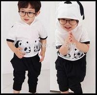 Hot 2015 retail summer 2 ~ 9Age cartoon Panda cotton kids clothes hoodies + harem pants Free Shipping