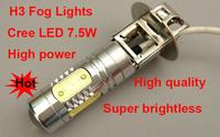 100% GOOD Quality  7.5W H3LED fog Lights Aluminium housing Cree LED DC12-24V W LED car Fog lights