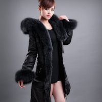 The new high-grade genuine luxury large blue fox fur long thick down jacket Free shipping EMS TF057