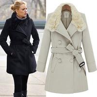 Fashion Designer Brand Fur Collar Long Belt Wool Coat Woolen Outerwear Winter Overcoat Women WT121444