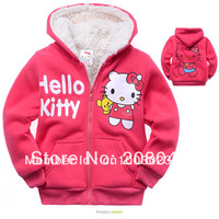 Children outerwear Hello kitty faux fur Sweater Fleece hoodies girl's Hooded sweatshirt coat Autumn winter sportwear jacket