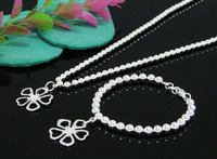 Hot selling  fashion silver charm beads pendant jewelry set wholesale silver set Top quality Free shipping