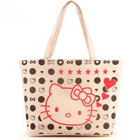 Promotion Free shipping 5 pcs/lot, 2013 NEW ARRIVE canvas handbag Hello kitty shopping bag for women Supermarket bag Mixed order