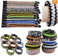 Paracord Parachute Cord Emergency Survival Bracelet with Plastic Buckle,Free shipping