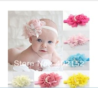 free ems 4Inch chiffon NEW Baby Girls chiffon Headband for Photography props rose pearl flower Headbands infant hair accessory
