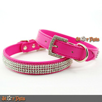 Rose Leather Bling Rhinestone PU Leather Collars withe Crystal Buckle For  Puppy  Cat  Pet   XS/ S/ M/ L