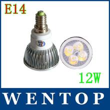 E14 12W 4x3W CE Rohs warm cool white 960LM High Power LED Lamp spot lighting 80W 220V 110V 240V(China (Mainland))