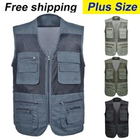 free shipping 2015 New Arrival plus size  male outdoor casual multi-pocket  film vest fishing mesh vest jacket  L-4XL